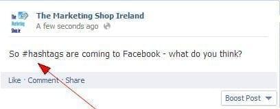 Hashtags on FB